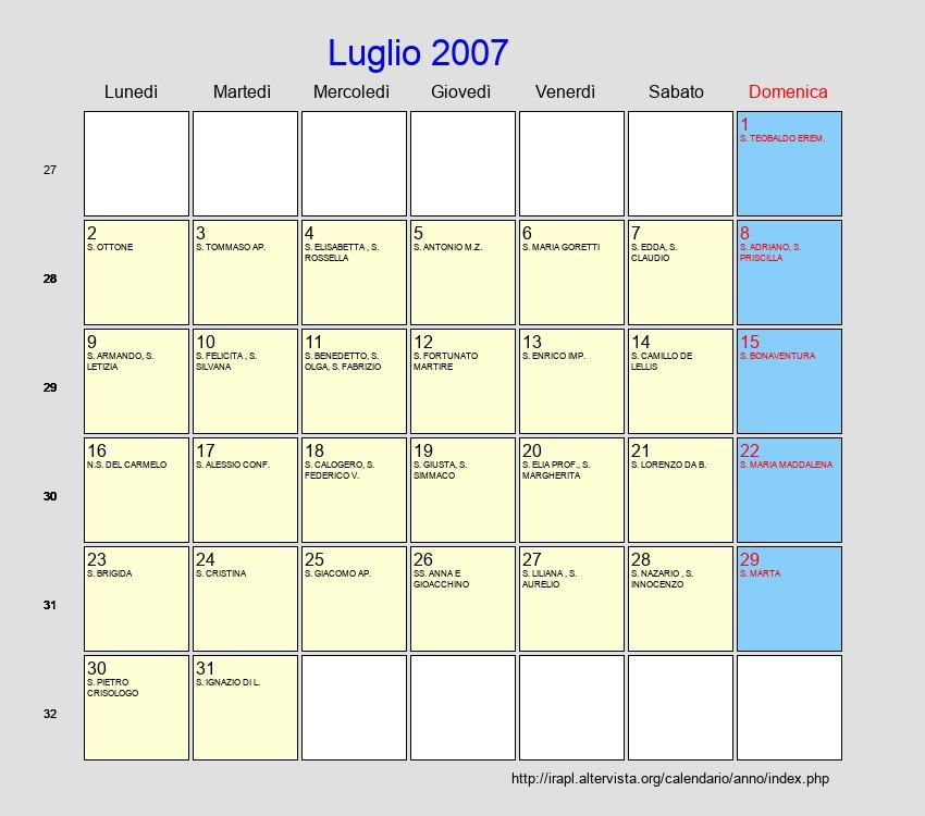 Calendario Luglio 2007.Calendario Luglio 2007 Con Festivita E Fasi Lunari