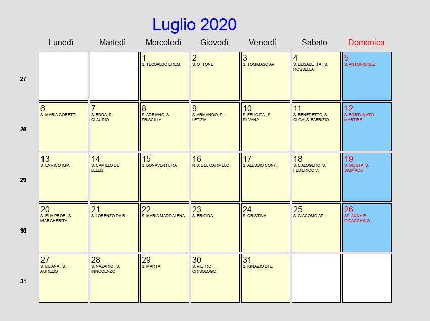 Calendario Luglio 2020 Da Stampare.Calendario Luglio 2020 Con Festivita E Fasi Lunari