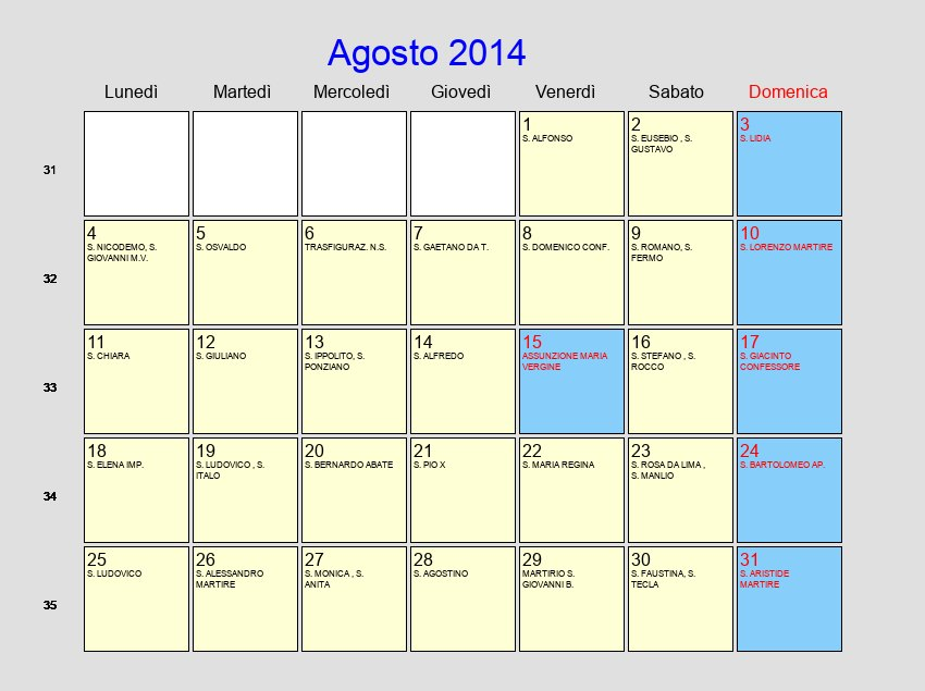 Calendario Agosto 2014 - Con festività e fasi lunari