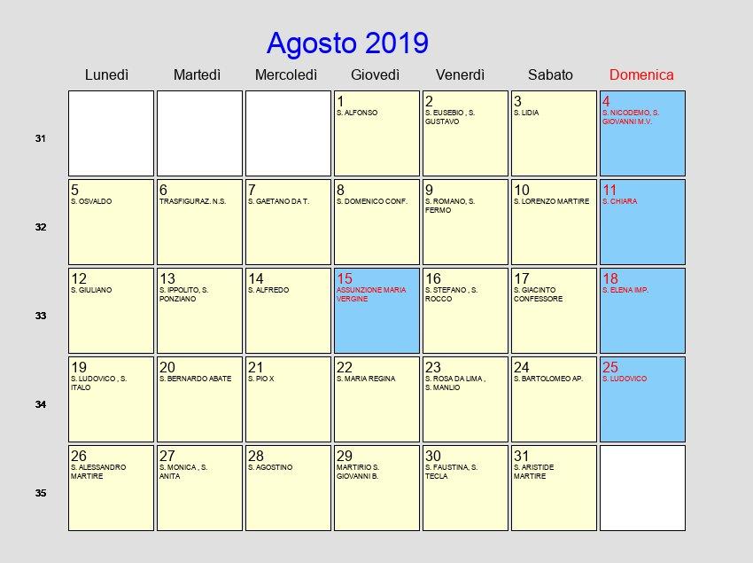 Calendario Giugno Luglio Agosto 2019.Calendario Agosto 2019 Con Festivita E Fasi Lunari