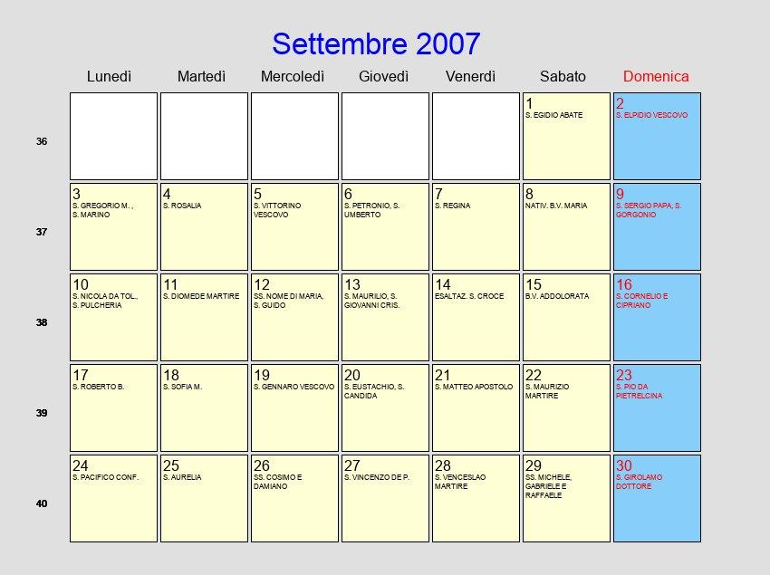 Calendario Settembre 2007.Calendario Settembre 2007 Con Festivita E Fasi Lunari