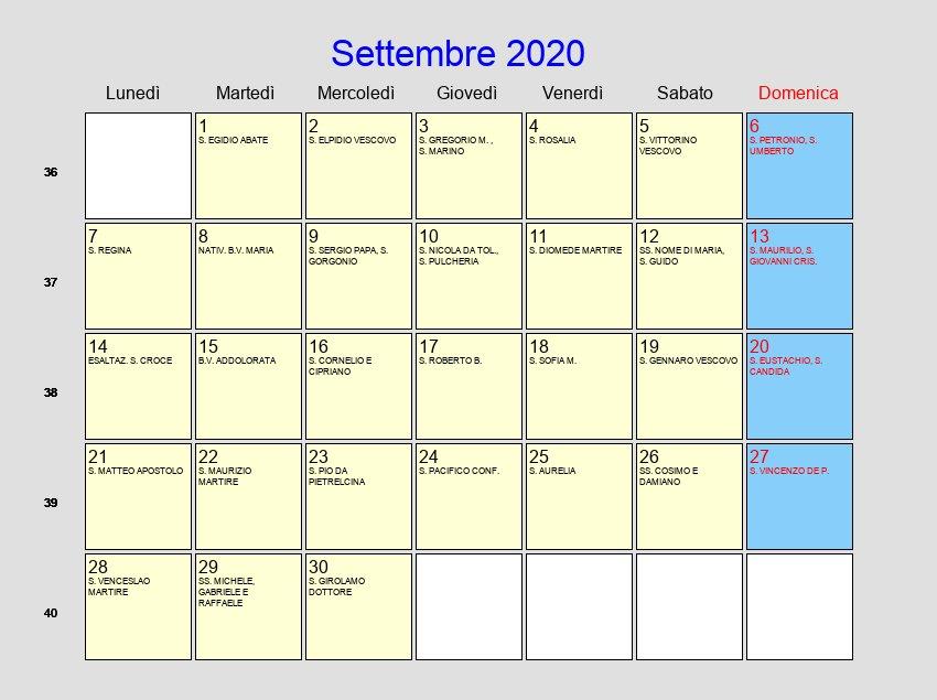 Calendario Settembre2020.Calendario Settembre 2020 Con Festivita E Fasi Lunari