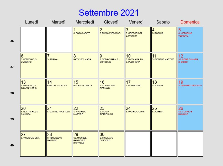 Calendario Settembre 2021   Con festività e fasi lunari