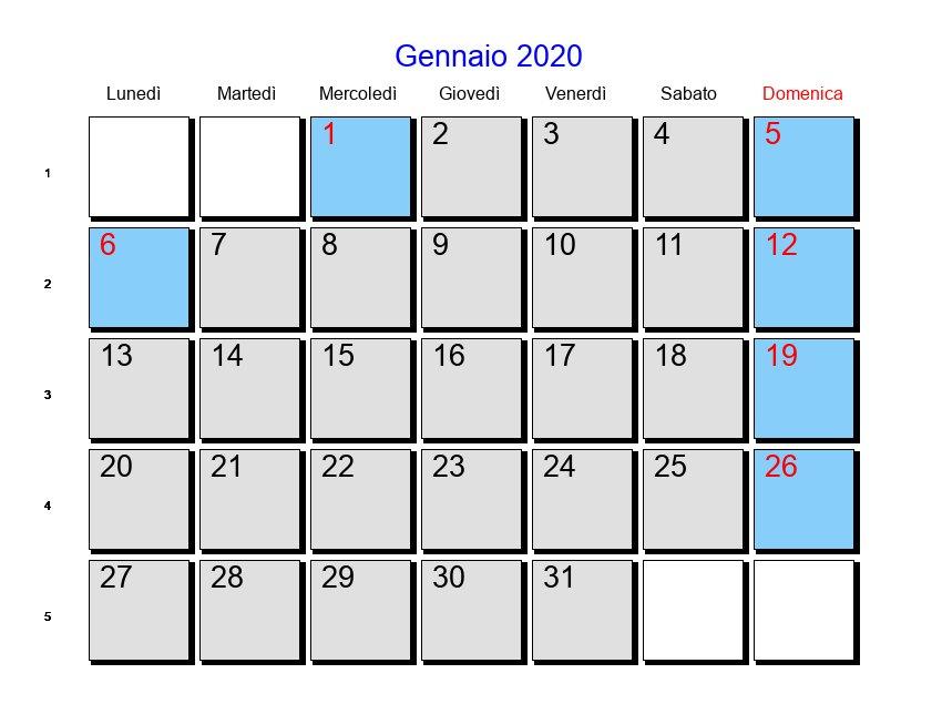 Calendario Gennaio 2020 Da Stampare.Calendario Gennaio 2020 Con Festivita E Fasi Lunari