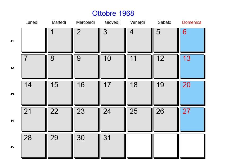 Calendario 1968.Calendario Ottobre 1968 Con Festivita E Fasi Lunari