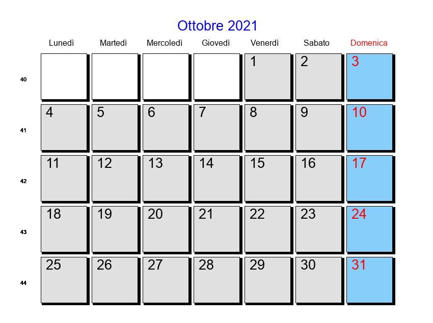 Calendario Ottobre 2021   Con festività e fasi lunari