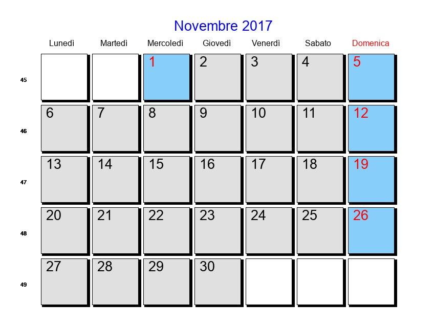 Calendario Anno 2017.Calendario Novembre 2017 Con Festivita E Fasi Lunari