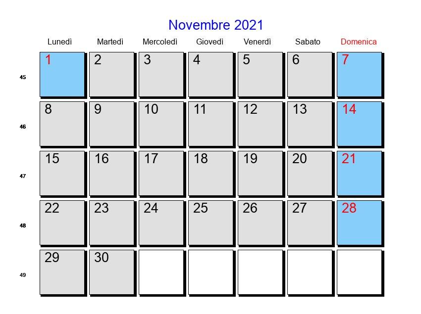 Calendario Novembre 2021   Con festività e fasi lunari   Avvento