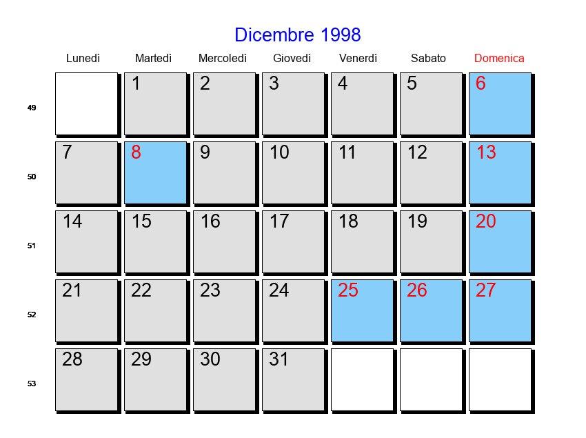 1998 Calendario.Calendario Dicembre 1998 Con Festivita E Fasi Lunari Avvento