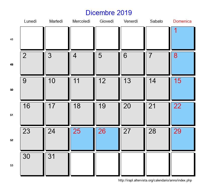 Calendario Dicembre 2019 Stampabile.Calendario Dicembre 2019 Con Festivita E Fasi Lunari