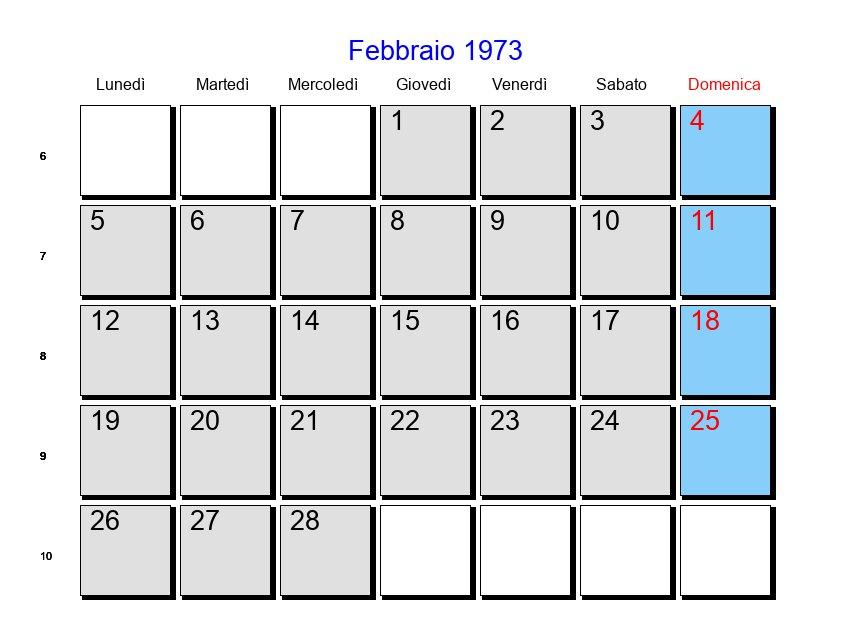 Calendario 1973.Calendario Febbraio 1973 Con Festivita E Fasi Lunari