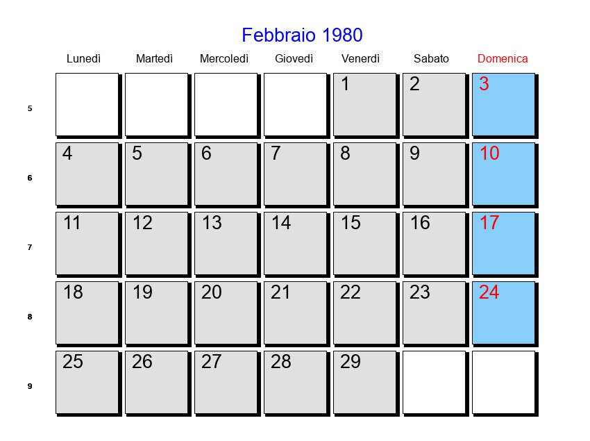 Calendario Anno 1980.Calendario Febbraio 1980 Con Festivita E Fasi Lunari