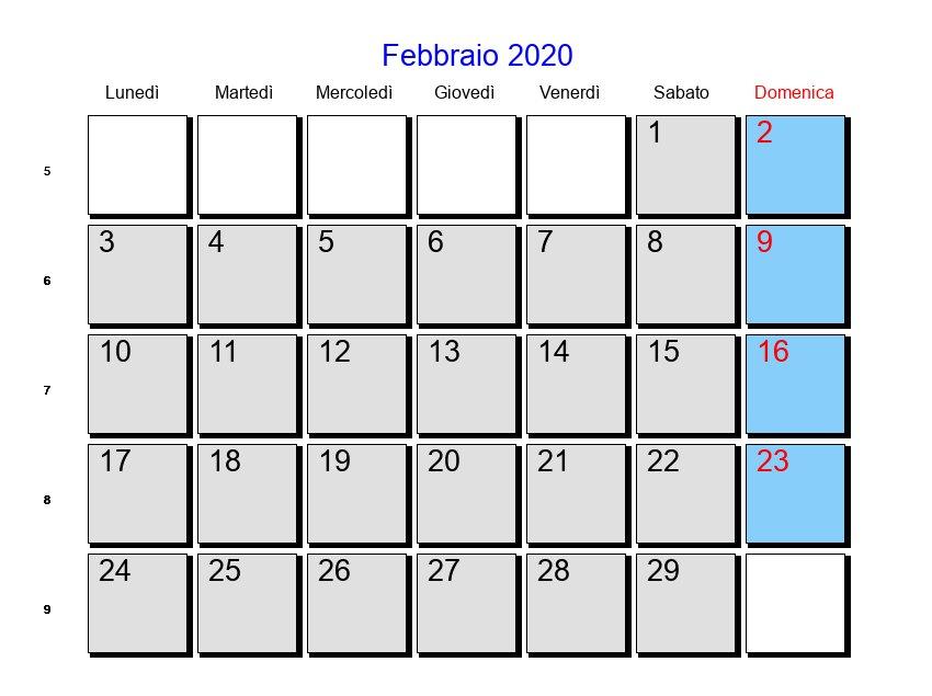 Calendario Febbraio Marzo 2020.Calendario Febbraio 2020 Con Festivita E Fasi Lunari
