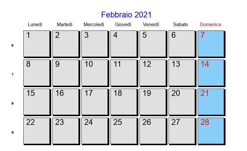 Calendario Febbraio 2021 - Con festività e fasi lunari - Quaresima
