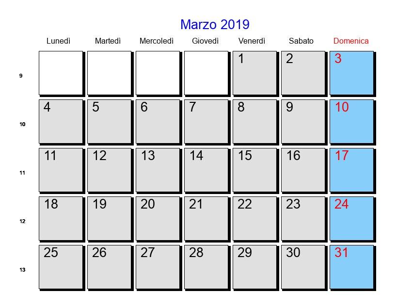 Calendario Lunare Capelli Marzo 2020.Calendario 2019 Marzo
