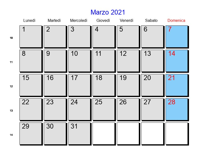 Calendario Marzo 2021   Con festività e fasi lunari   Quaresima