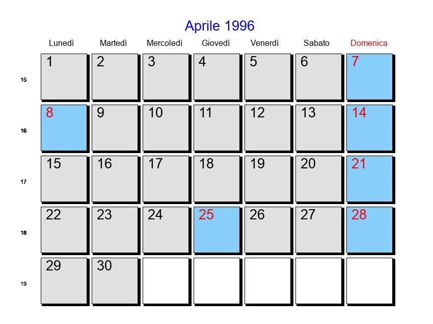 Calendario 1996.Calendario Aprile 1996 Con Festivita E Fasi Lunari Pasqua