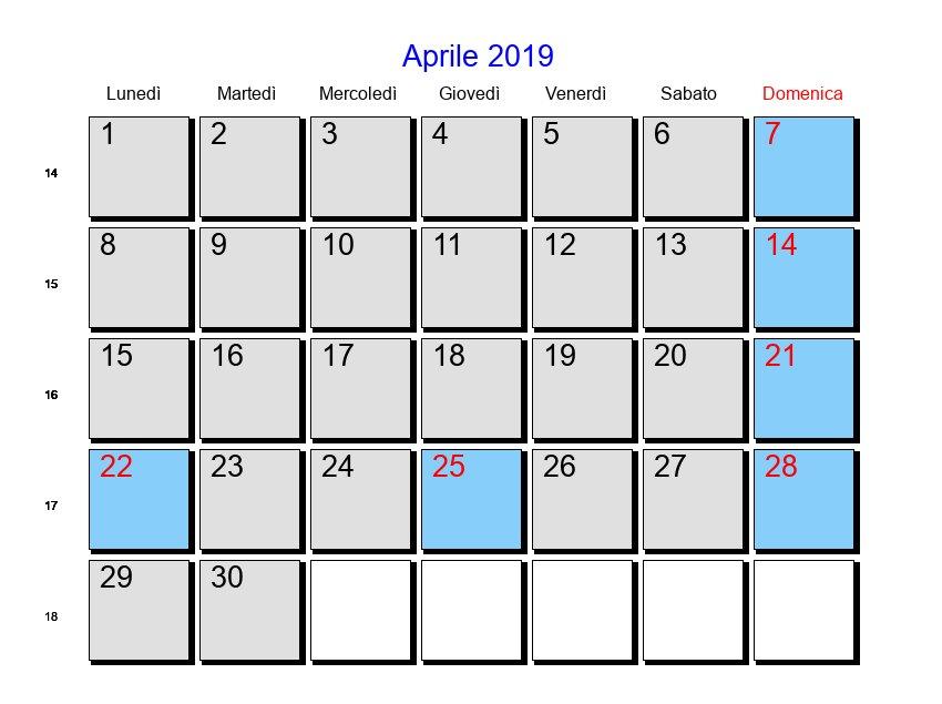 Rossi Sul Calendario.Calendario Aprile 2019 Con Festivita E Fasi Lunari Pasqua