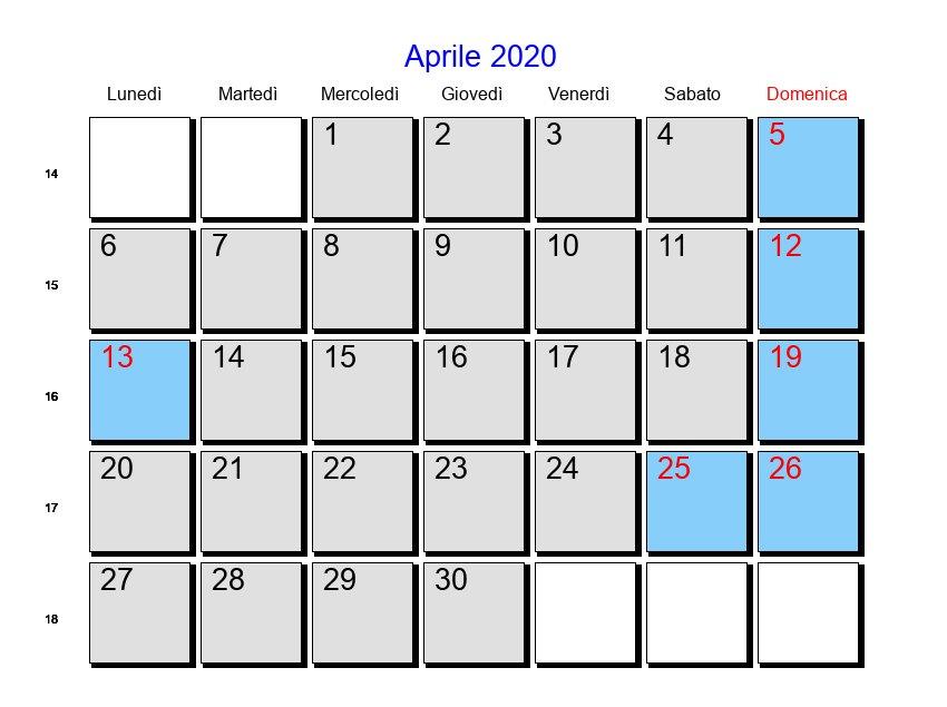 Feste Calendario 2020.Calendario Aprile 2020 Con Festivita Calendario 2020