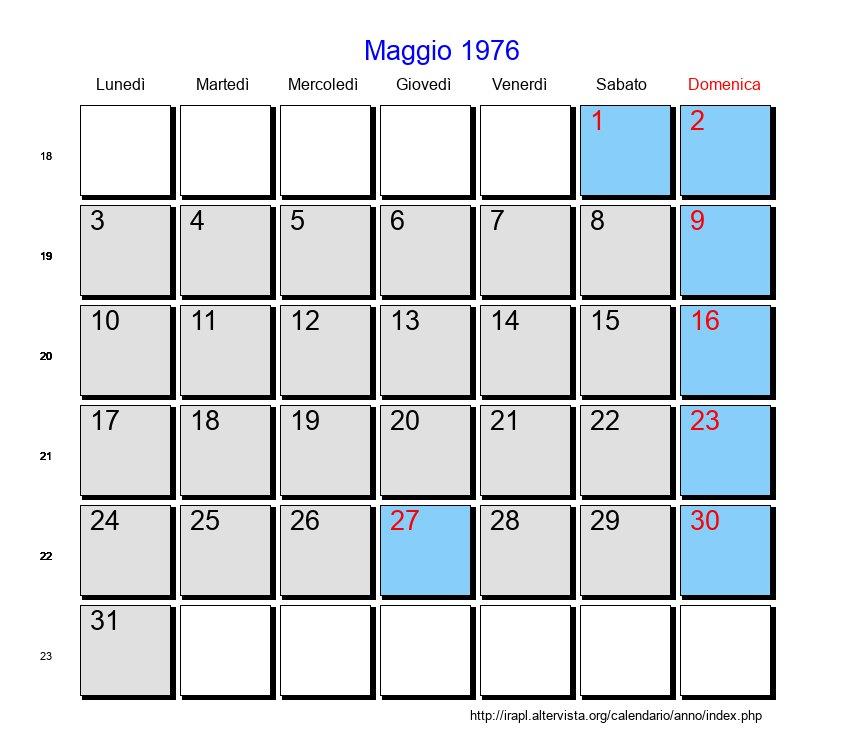 Calendario 1976.Calendario Maggio 1976 Con Festivita E Fasi Lunari