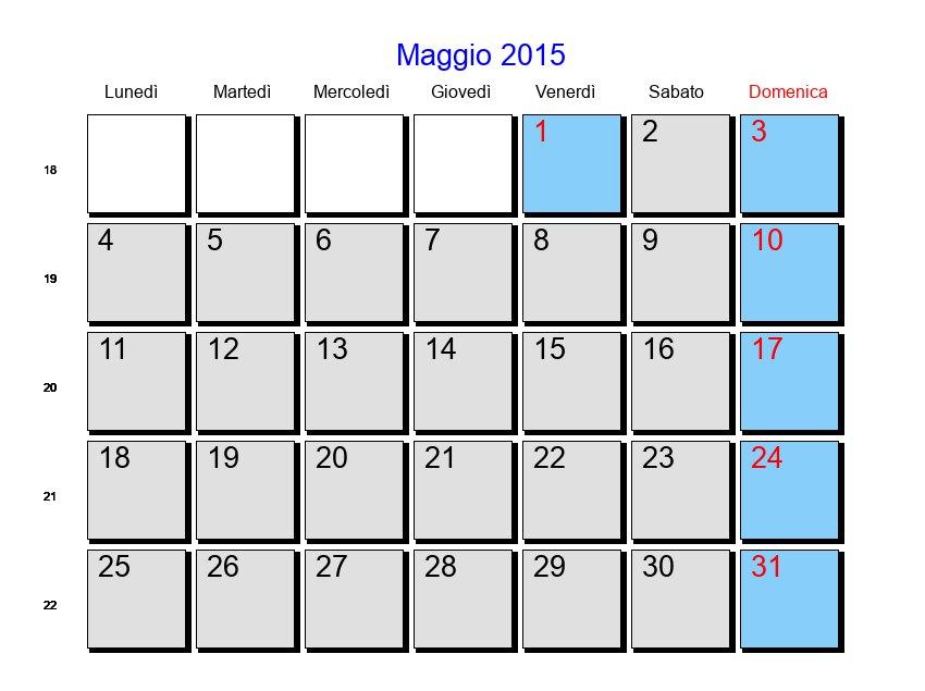 Calendario Anno 2015.Calendario Maggio 2015 Con Festivita E Fasi Lunari