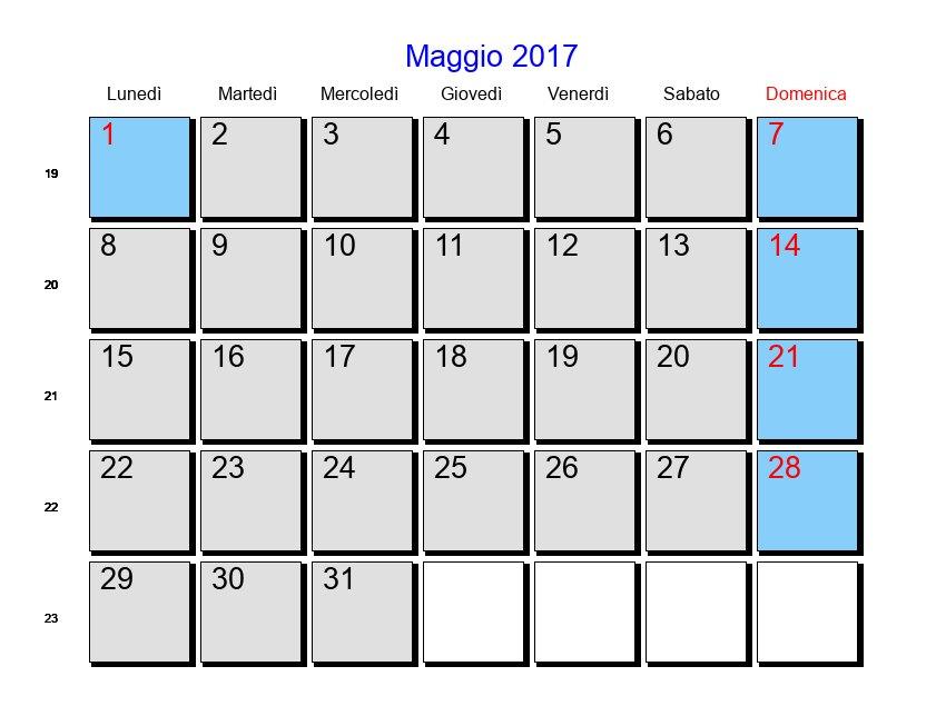 Calendario maggio 2017 con festivit e fasi lunari - Calendario da tavolo 2017 ...