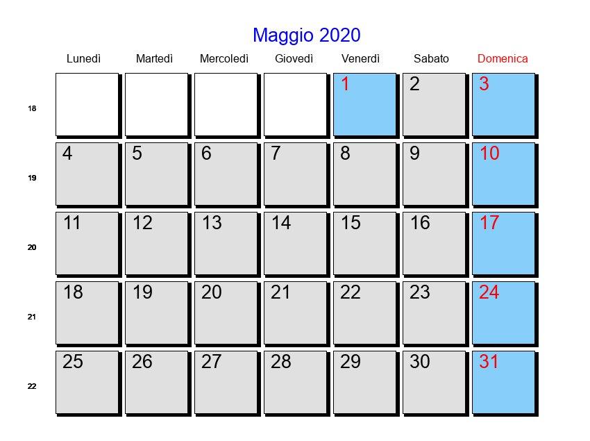 Calendario Maggio 2020.Calendario Maggio 2020 Con Festivita E Fasi Lunari