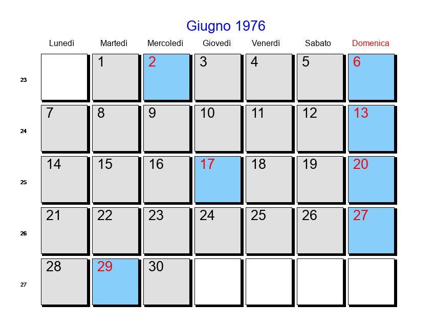 Calendario 1976.Calendario Giugno 1976 Con Festivita E Fasi Lunari