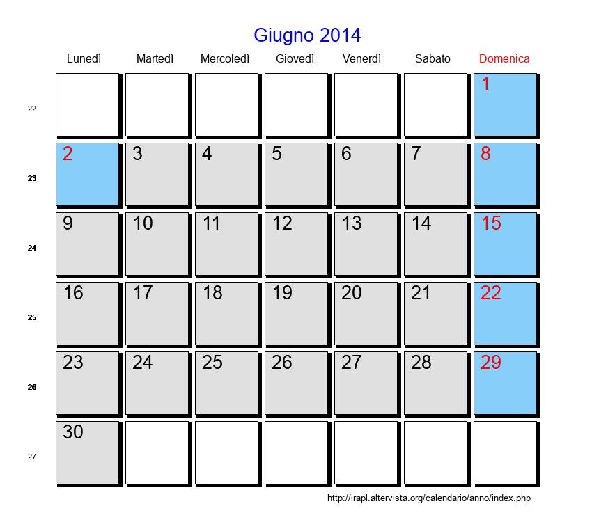 Calendario Anno 2014.Calendario Giugno 2014 Con Festivita E Fasi Lunari