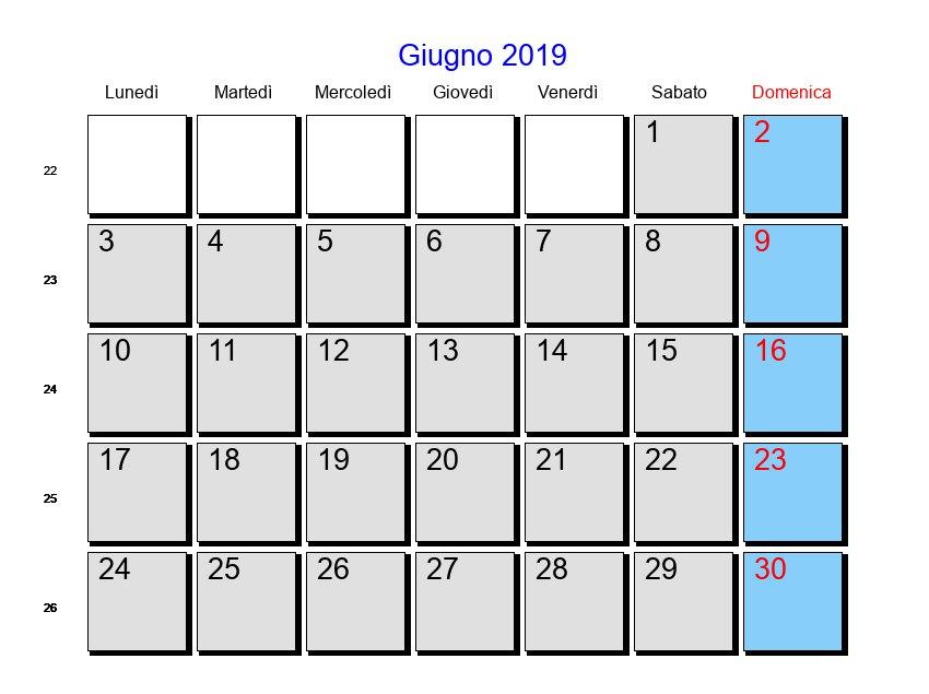 Calendario Giugno 2019 Con Festività E Fasi Lunari Corpus Domini