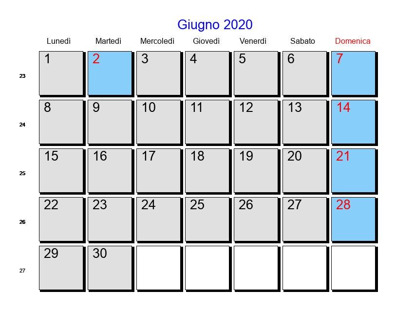 Calendario Maggio Giugno 2020.Calendario Giugno 2020 Con Festivita E Fasi Lunari