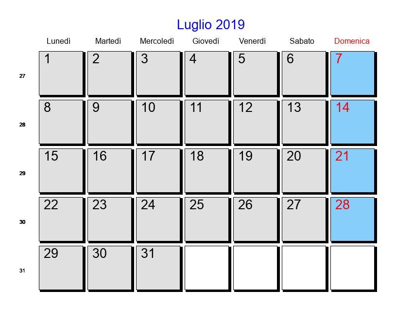 Calendario Luglio 2019 Con Festività E Fasi Lunari