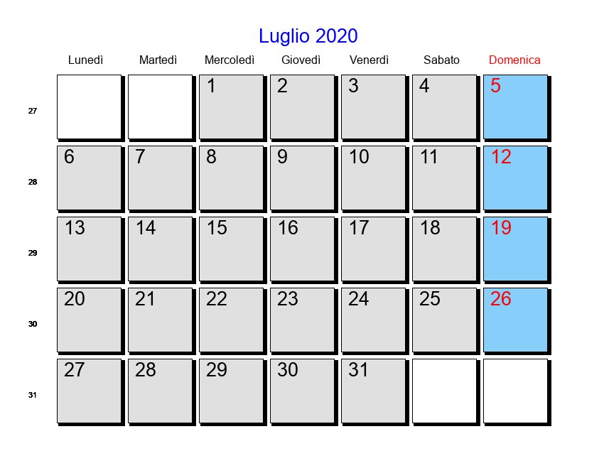 Calendario Luglio Agosto 2020.Calendario Luglio 2020 Con Festivita E Fasi Lunari