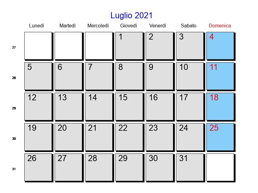 Calendario Luglio 2021   Con festività e fasi lunari