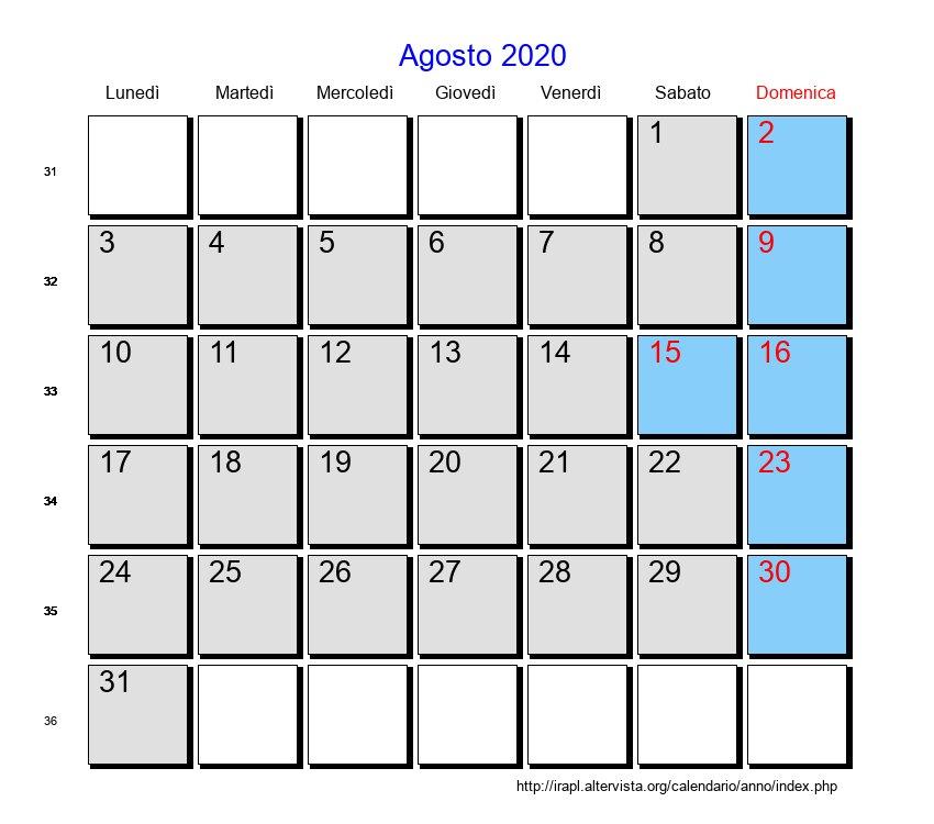 Calendario Agosto 2020.Calendario Agosto 2020 Con Festivita E Fasi Lunari