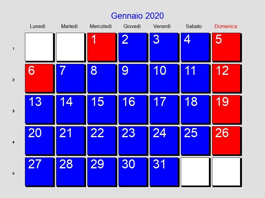 Calendario Islamico 2020.Calendario Gennaio 2020 Con Festivita E Fasi Lunari