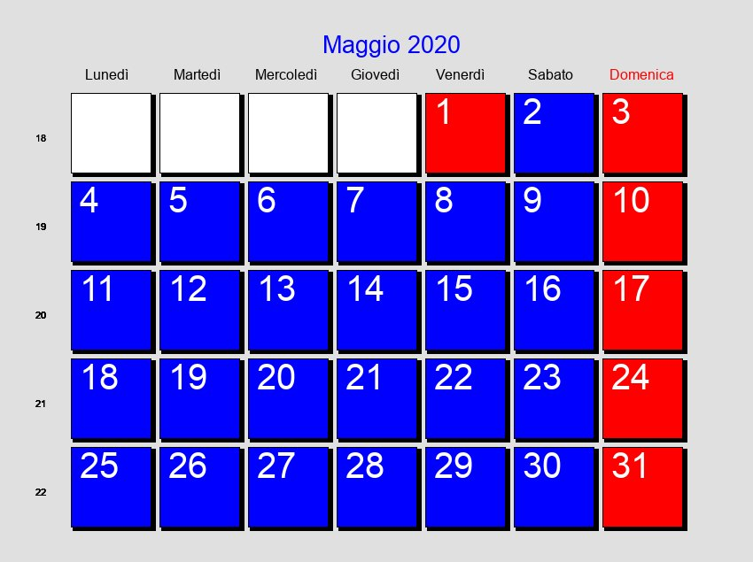 Calendario Di Maggio 2020.Calendario Maggio 2020 Con Festivita E Fasi Lunari