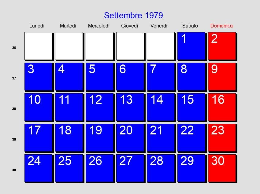 Calendario Del 1979.Calendario Settembre 1979 Con Festivita E Fasi Lunari
